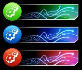Zahnrad-Symbol auf Tcl/Tk-farbigen Button Set Original Illustration