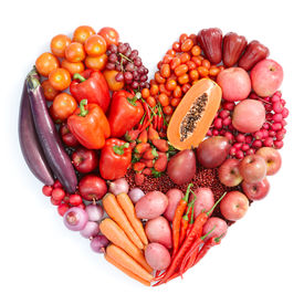 picture of heart shape  - heart shape form by various vegetables and fruits - JPG
