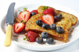 stock photo of french toast  - French toast with strawberries - JPG