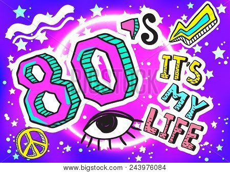 Retro Style Party Colorful Illustration  80s Fashion, 80s Poster And  Banner  Memphis Design Elements poster