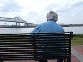 Senior Looking At Mississippi River