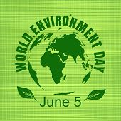 World Environment Day Card. Green Globe On A Green  Sackcloth Background. World Environment Day Conc poster