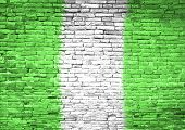 Nigeria Flag Painted On Wall