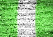 Nigeria Flag Painted On Wall
