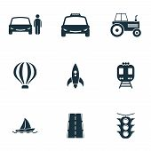 Постер, плакат: Set Transport Icons Collection In Flat Design City Transport Vihecles Auto Air Baloon Rocket Fo