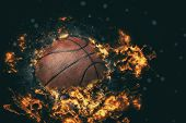 Basketball On Fire Or Burning Basketball. Fire Illustration poster
