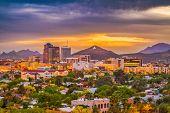 Tucson, Arizona, USA downtown skyline with Sentinel Peak at dusk. (Mountaintop A  for Arizona) poster