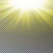 Yellow Sun Ray Light Effect Isolated On Transparent Background. Realistic Sun Ray Light Effect. Star poster
