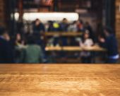 Table Top Wooden Counter Blur People Bar Restaurant Party Background poster
