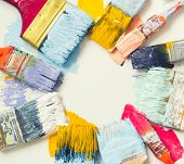 Paint brushes and paint on the floor poster