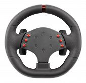 A Steering Wheel For Racing, A Controller Similar To A Car Steering Wheel, Isolated On White poster