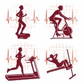 Gym exercise icons vector