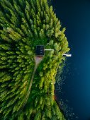 Aerial View Of Wooden Cottage In Green Forest By The Blue Lake In Rural Summer Finland poster