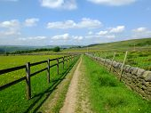 Long Straight Footpath Runiing Alongside A Fence A Dry Stone Wall Into The Distance With Bright Spri poster