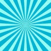 Retro Sunburst Background. Centric Blue Vector Pattern, Sun Lines With Dots . Flat Rays Illustration poster