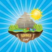 Summer Camp Kids Logo Concept Illustration With Green Valley, Mountains, Trees, Sun, Clouds, Camp Fi poster