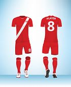 Soccer Jersey Or Football T-shirt Mock Up. Front And Back View Peru Uniform. Vector Illustration. poster
