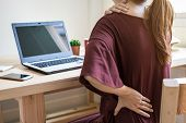 Young Woman Working At Home And Having Back Pain,  Healthcare And Problem Concept Office Syndrome poster