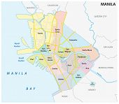 Manila Administrative, Political And Road Vector Map, Philippines poster