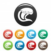 Wave Surfing Icon. Simple Illustration Of Wave Surfing Vector Icons Set Color Isolated On White poster