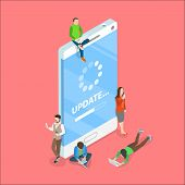 Flat Isometric Vector Concept Of Smartphone App Update, Loading Process, System Upgrade. poster