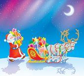 Santa loads Christmas gifts