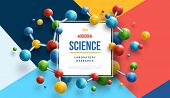 Science Banner With Square Frame And Colorful 3d Molecules On Modern Geometric Background. Vector Il poster