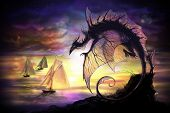 For Navigation. Fantasy Dragon With Stars And Planets On A Background poster