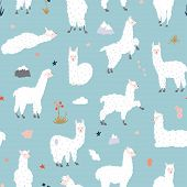 Vector Seamless Pattern With South America Cute Llama With Decorations. Isolated Outline Cartoon Bab poster
