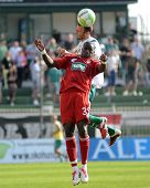 KAPOSVAR, HUNGARY - SEPTEMBER 24: Adamo Coulibaly (in red) in action at a Hungarian National Champio