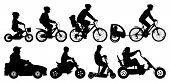 Family With Children Traveling On Bikes. Mountain Bike. Cyclist With A Child Stroller. City Cycling  poster