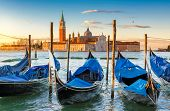 Venice Sunrise. Venice Gondolas On San Marco Square At Sunrise, Grand Canal, Venice, Italy, poster