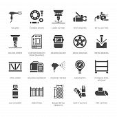 Welding Services Flat Glyph Icons. Rolled Metal Products, Steelwork, Stainless Steel Laser Cutting,  poster