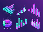 Modern Isometric Business Infographic. Colorful Purple And Cyan Percentage Info Charts, Statistics C poster
