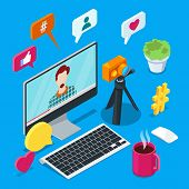 Blogging And Social Media Content Creation. Photo Or Video Blog Vector 3d Isometric Icons. Internet  poster