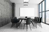 Contemporary Conference/meeting Room Interior With Empty Poster On Wall. Ad Concept. Mock Up, 3d Ren poster