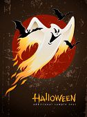 flying and burning burning white halloween ghost vector illustration
