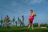 Tricking On Lawn In Park. Man Makes Kick. Martial Arts And Parkour. Street Workout. poster