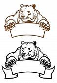 Salvaje oso Kodiak con Banner