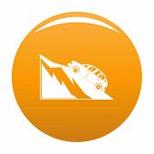 Mountain Accident Icon. Simple Illustration Of Mountain Accident Vector Icon For Any Design Orange poster