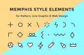 Memphis Style Elements. Set Of Memphis Design Elements, Line Graphic Design, Template For Pattern, L poster