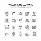 Welding Services Flat Line Icons. Rolled Metal Products, Steelwork, Stainless Steel Laser Cutting, F poster