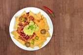 An Overhead Photo Of Nachos With Cheese, Chilli Con Carne And Guacamole, Traditional Mexican Food, O poster