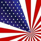 Patriotic Background Of The American Flag With Stars And Rays Stripes Creative Concept On The Us Ind poster