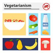Vegetarianism. Banner With Colored Rectangles With Vegetarian Elements. Vegetables, Fruit, Dairy Pro poster