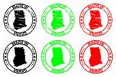 Постер, плакат: Made In Ghana Rubber Stamp Vector Ghana Map Pattern Black Green And Red