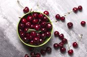 Fresh Cherries In Bowl On Table. Fresh Cherries In Pot On The Table.cherries. Sweet Cherries. Fresh  poster