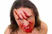 Cannibal maniac with blood on face