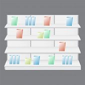 Empty Showcase Display With Retail Shelves. Display Rack For Supermarket poster
