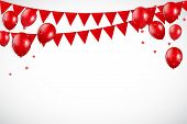 Glossy Red Balloons And Flaf Background Vector Illustration Eps10 poster